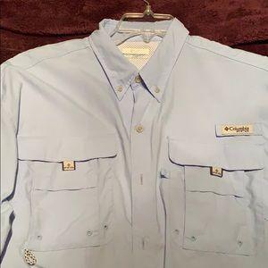 Baby Blue Columbia fishing shirt
